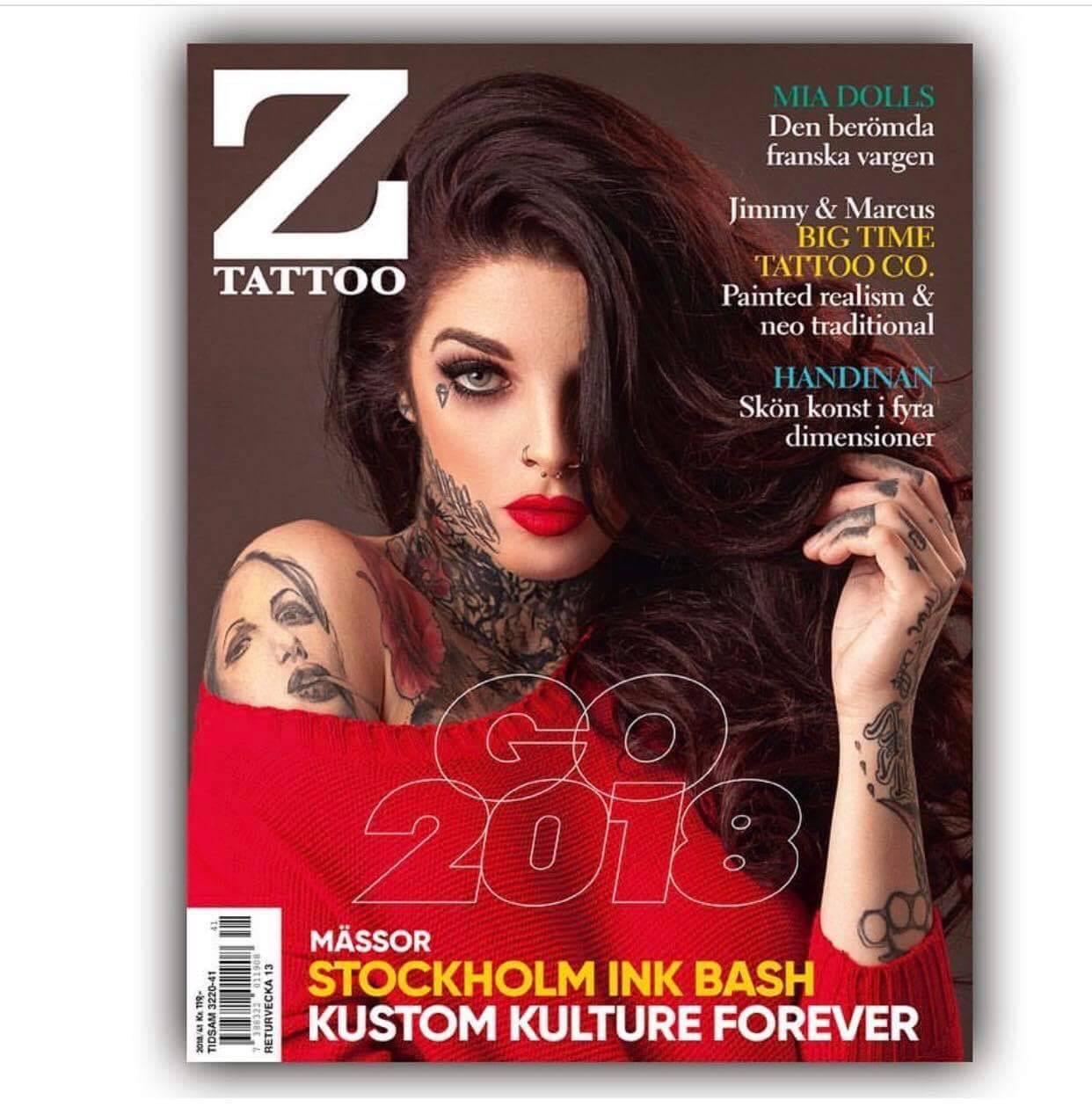 """Mia Dolls, """"la célèbre louve française"""" en Une du magazine Z Tattoo au Danemark"""